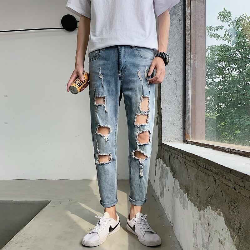 Pantalon Homme Jean 2020 Spring Patchwork Lubang Jeans Patch Kurus Langsing Peregangan Denim Celana Vaqueros Hombre Skinny Jean Hombre Jeans Aliexpress