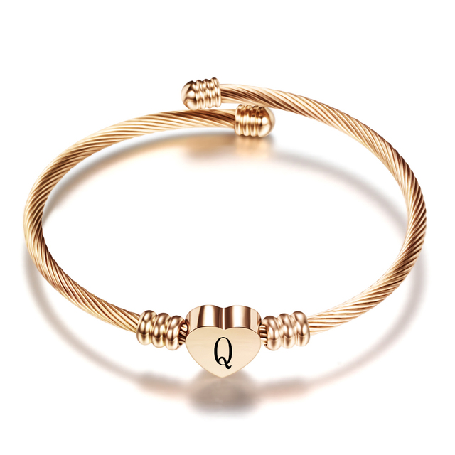 Rose gold Color Stainless Steel Heart Bracelet Bangle With Letter Fashion Initial Alphabet Charms Bracelets For Women 6
