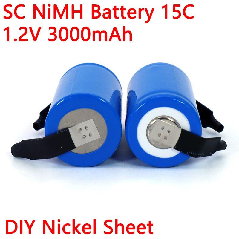 Batteria ricaricabile 1.2V Ni-MH SC 3000mAh 21410 per aspirapolvere spazzatrice Drone trapano elettrico batteria foglio di nichel fai da te