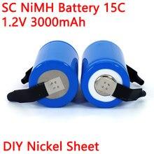 1.2v ni-mh sc 3000mah 21410 bateria recarregável para aspirador de pó vassoura zangão broca elétrica bateria diy níquel folha