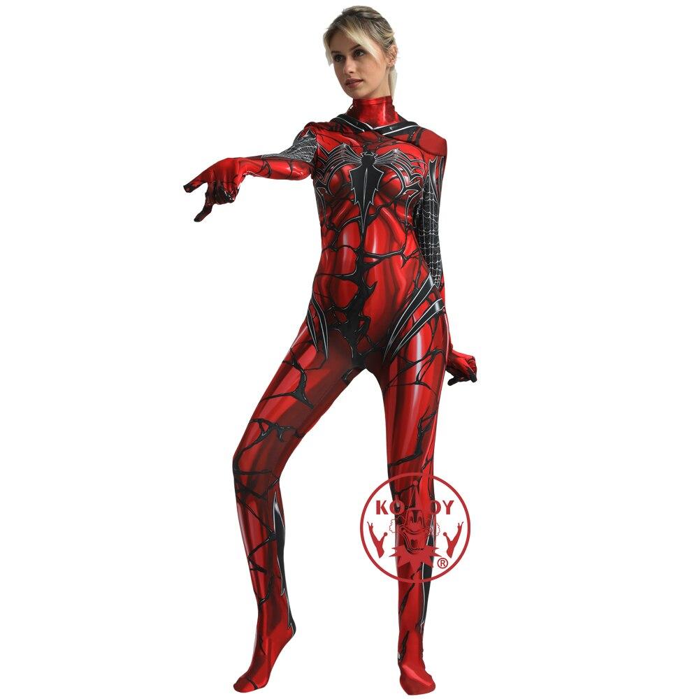 Gwen Stacy Cosplay Venom Spiderman masque à capuche Lycra Zentai combinaison super-héros body Halloween Costume pour femmes hommes enfant