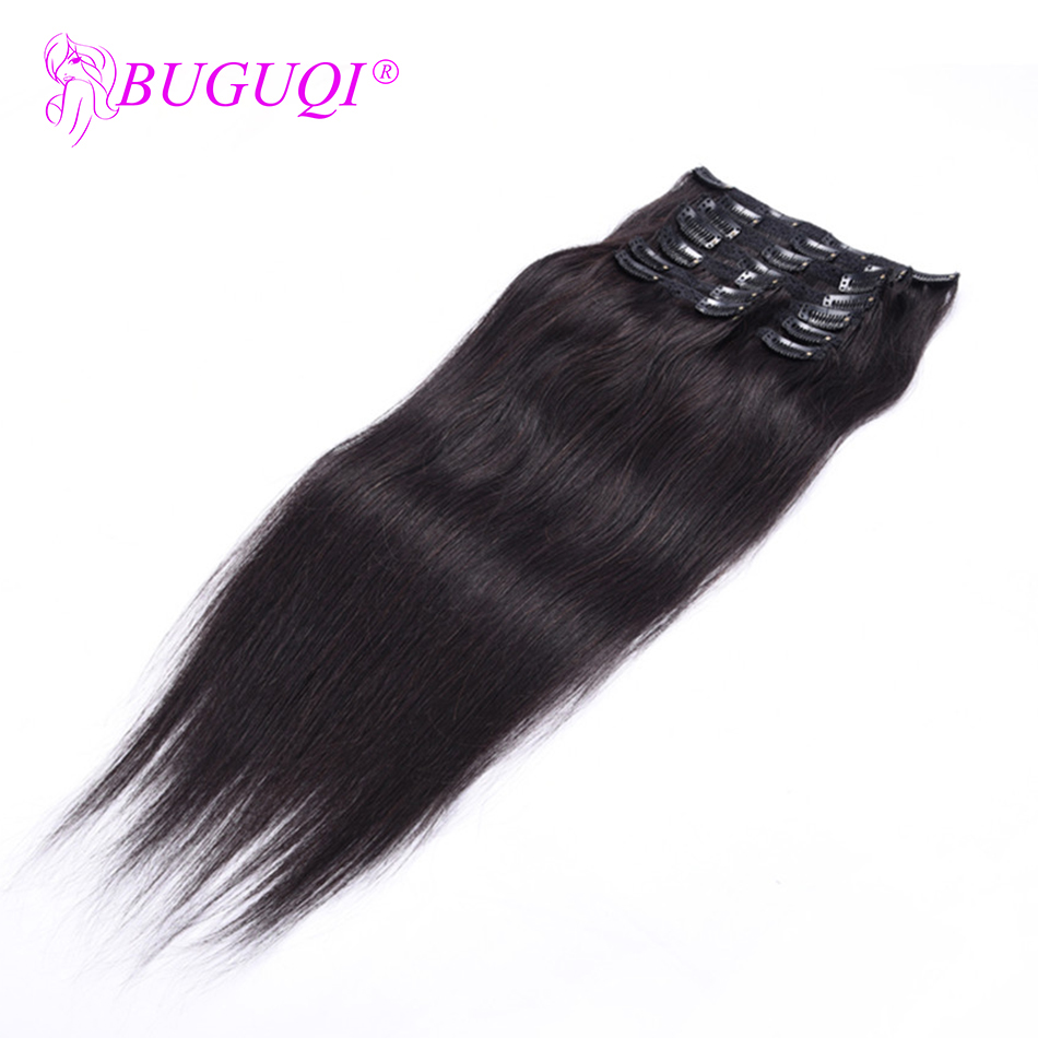 BUGUQI Hair Clip In Human Hair Extensions Malaysian Natural Color Remy 16- 26 Inch 100g Machine Made Clip Human Hair Extensions