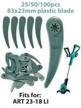 25/50/100 pces lâminas de plástico para bosch arte 23-18 li/26-18li grama strimmer trimmer jardim acessórios cortador de grama lâmina de plástico