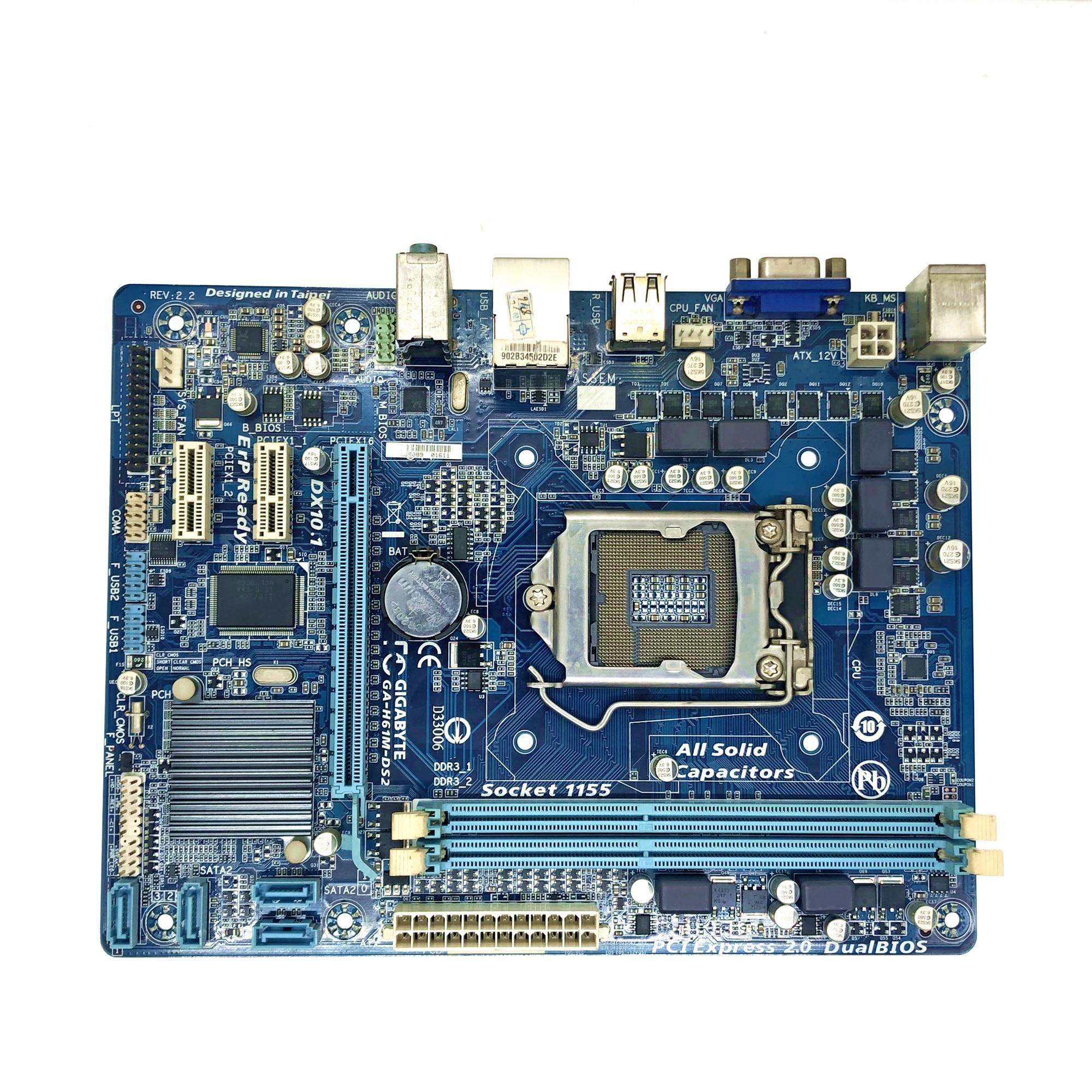 Desktop Motherboard GIGABYTE GA H61M DS2 PC H61 Socket LGA 1155 i3 i5 i7 DDR3 16G uATX UEFI H61M DS2 Mainboard|Motherboards| |  - title=