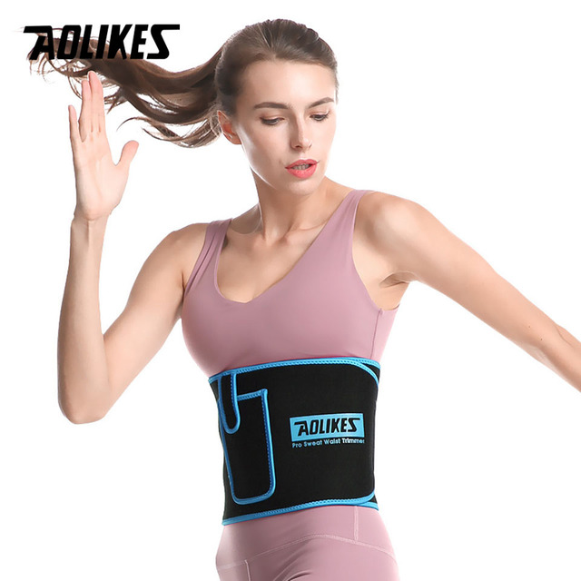 AOLIKES Sports Waist Trimmer Belt Slim Weight Loss Sweat Band Lumbar Brace Support Gym Accessorie Weightlifting Training Fitness 1
