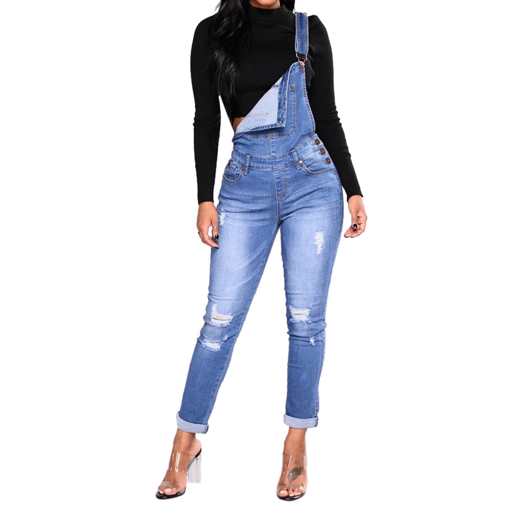 Denim Overalls Blue Black Women Slim Ripped Casual Straps   Jumpsuit   Trousers Pocket Jeans Pencil pants Long Rompers Female 2XL
