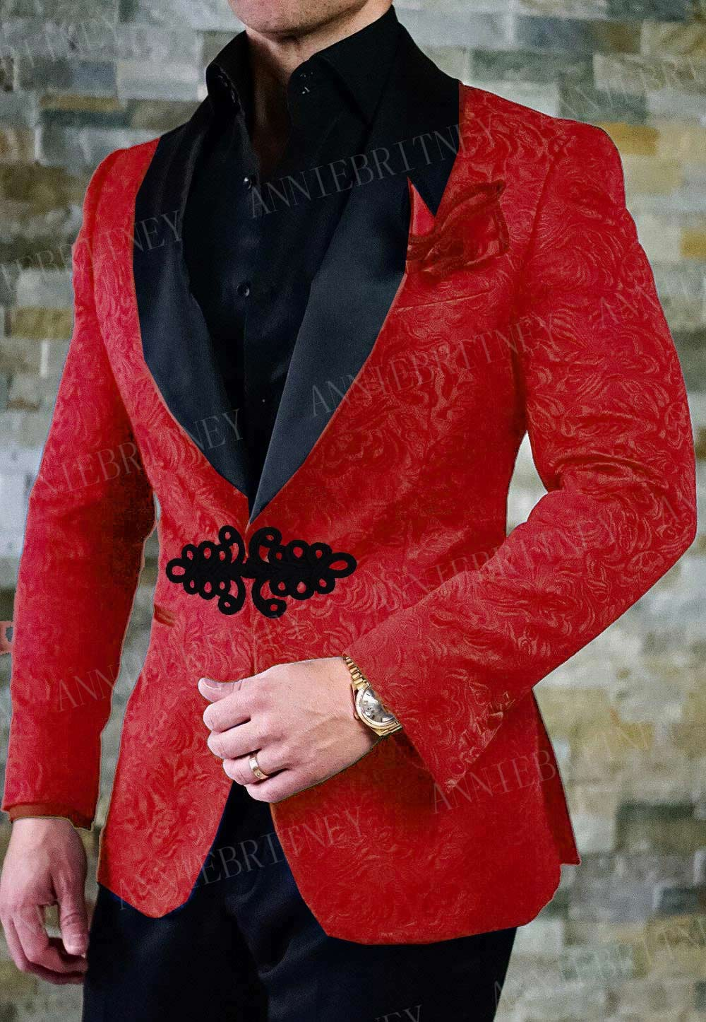 ANNIEBRITNEY 2019 Red Men Suit Custom Slim Fit Tuxedo Groom Suit Set Wedding Prom Blazer With Chinese Knot Buckle Pants 2 Pieces