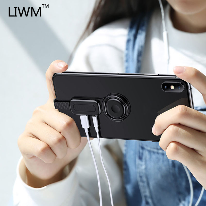 LIWM Dual Adapter & Ring Holder 3.5 Audio&charger Adjust Phone Holder Fast Charging Lighting For IPhone X 7 8 IOS Adapter OTG
