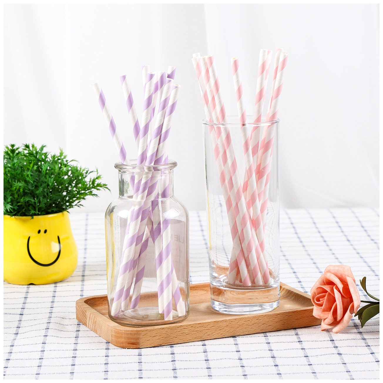 Biodegradable Straw Disposable Creative CHILDREN'S Handmade DIY Colored Paper Straw Wedding Party Decoration Paper Tube