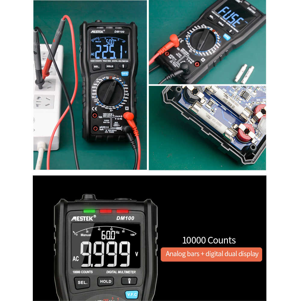 MESTEK Цифровой мультиметр True RMS вольтметр ncv Амперметр ESR метр с компактный мультиметр неправильная вставка анти-ожога функция сигнализации