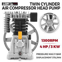 Bomba con cabezal de compresor de aire de 375L, 3kW, Tipo de pistón, doble culata, 1300rpm, 1 etapa, 11 Bar de construcción