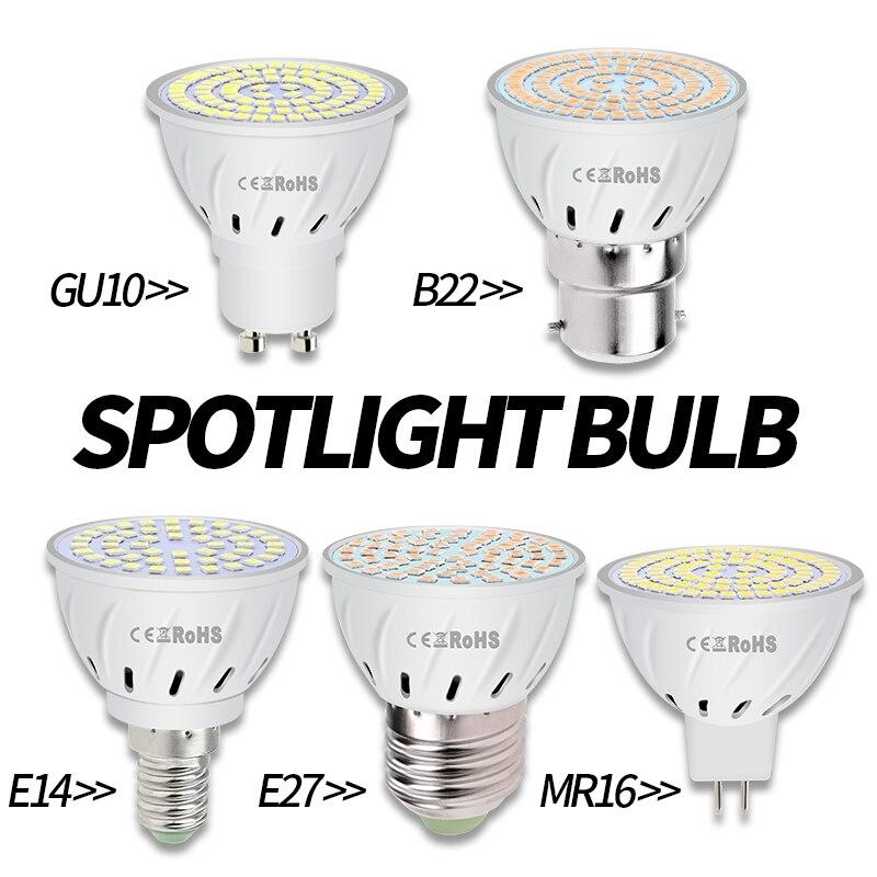 6PCS GU10 LED Lamp E27 Spotlight Bulb 3W 5W 7W Lampara E14 220V GU 10 Bombillas Led MR16 Gu5.3 Spot Light B22 Decoration Ampoul