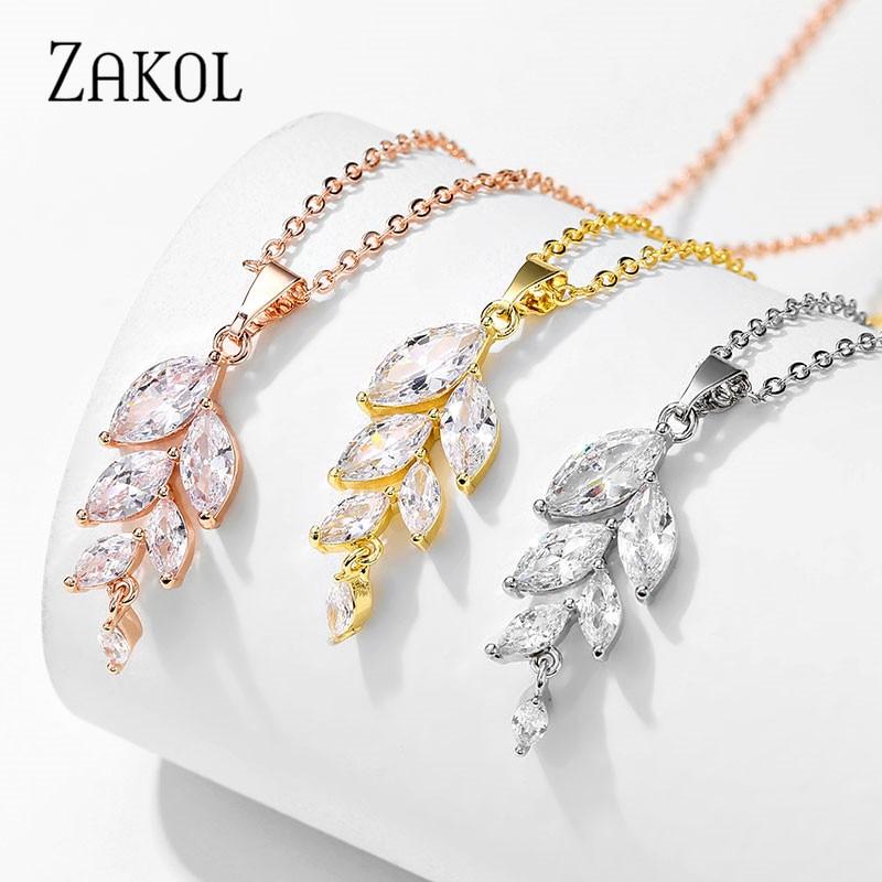 Модное женское ожерелье ZAKOL с подвеской в виде листика из кубического циркония, блестящее украшение с кристаллами, FSNP2205