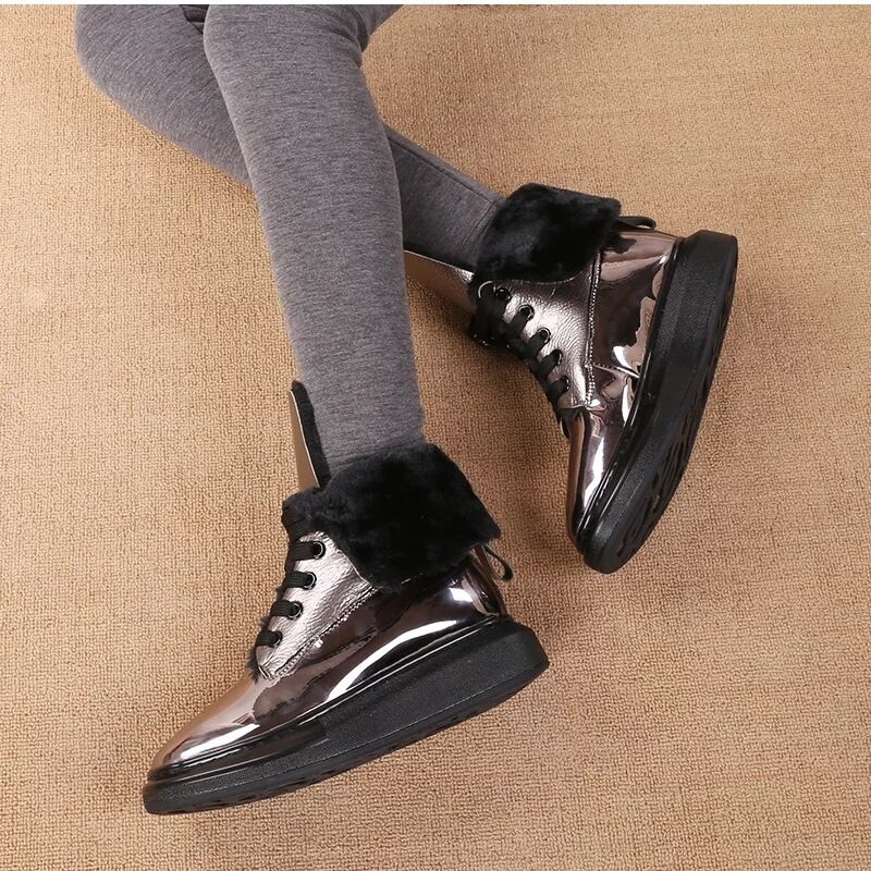 fashion high quality faux leather fur winter snow boots women ankle boots warm shoes flat round toe platform casual shoes woman