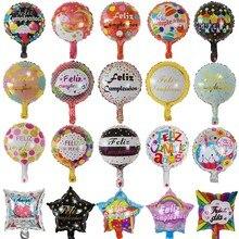 10 pçs 18 polegada folha espanhola balões feliz cumpleanos mylar hélio balão feliz festa de aniversário decoração redonda balões de ar