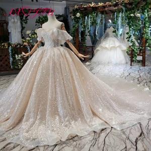 Image 4 - AXJFU Luxury princess champagne lace ruffles boat neck beading crystal star sparkly dubai wedding dress 100% real photo1499/1000