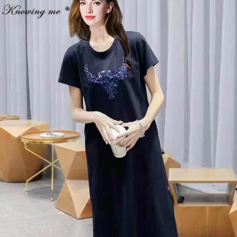 Women sequines T-shirt Dress 2021 Cartoon Print Tees Dress Summer O Neck Short Sleeve Harajuku Dress Women's stright Vestidos