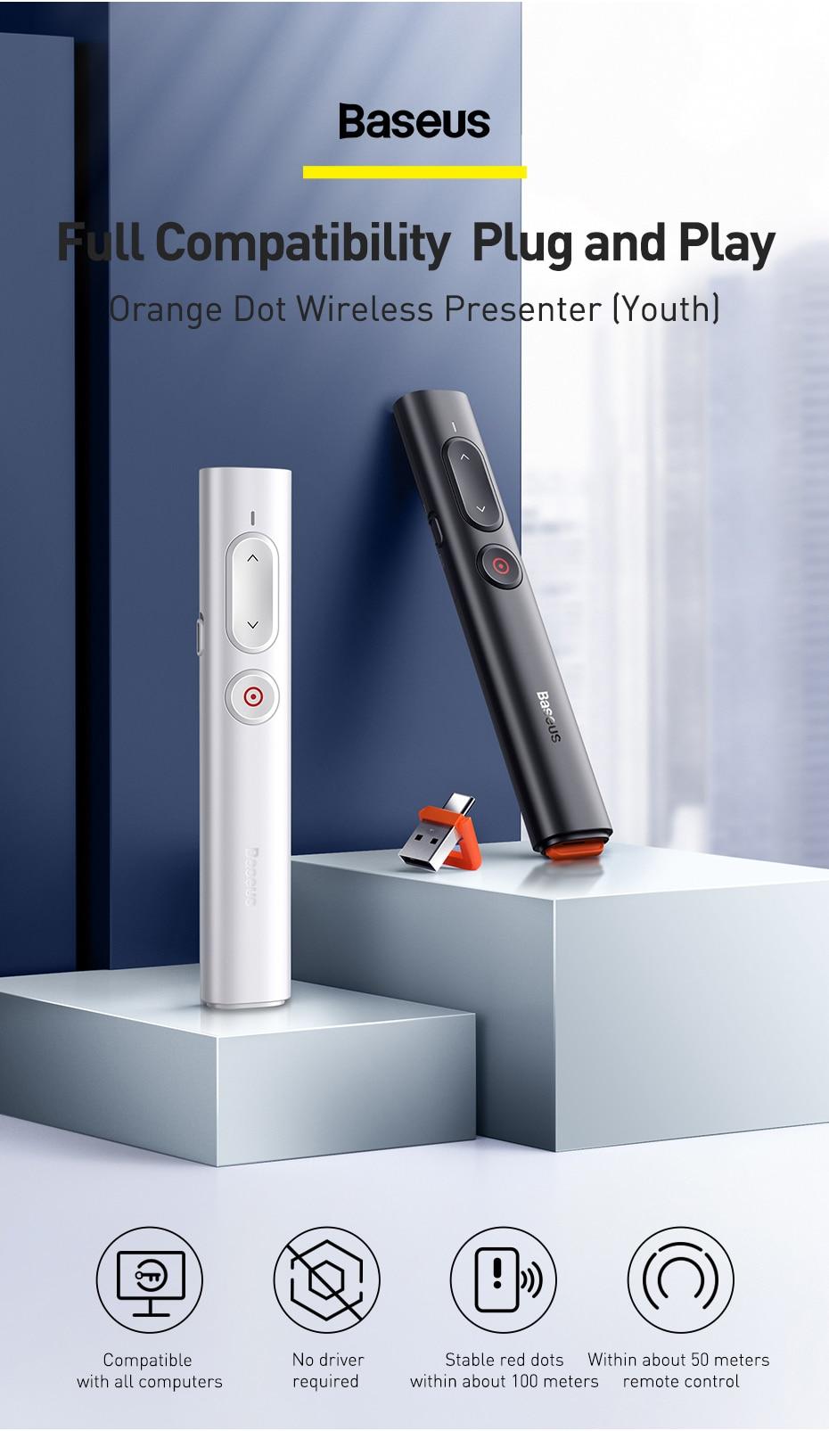 Baseus Presenter Wireless Remote Controller 2.4GHz USB&USB C Laser Pointer