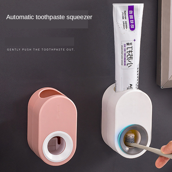 Fully Automatic Toothpaste Dispenser Hole Punched Toothbrush Toothpaste Storage Shelf Wall Hangers Lazy Extrusion Useful Product