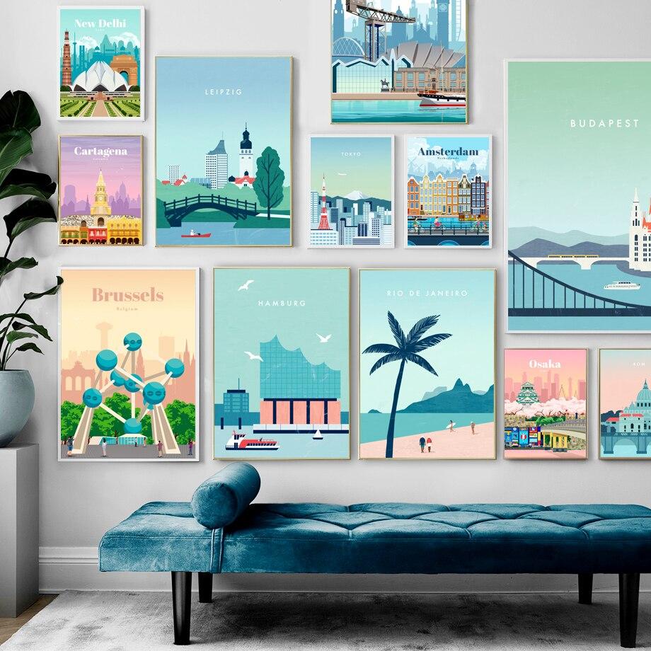 Плакат мультяшный Город Силуэт люди и природный пейзаж холст живопись путешествия печать картина домашний декор цветное настенное искусство