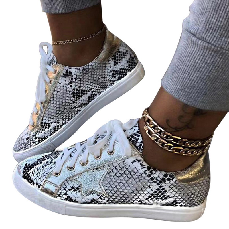 Spring Women Sneakers Lace Up Female PU Glitter Flats Vulcanized Shoes Fashion Snake Platform Shoes Woman Walking Footwear 2020