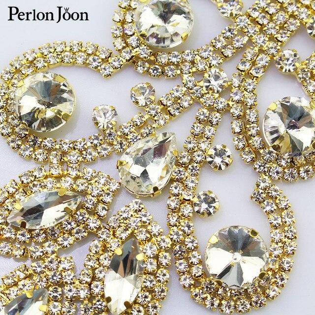 19*7cm DIY apliques de cristal Rhinestone decoración de parches para el vestido de boda accesorios de ropa de costura YH Z003
