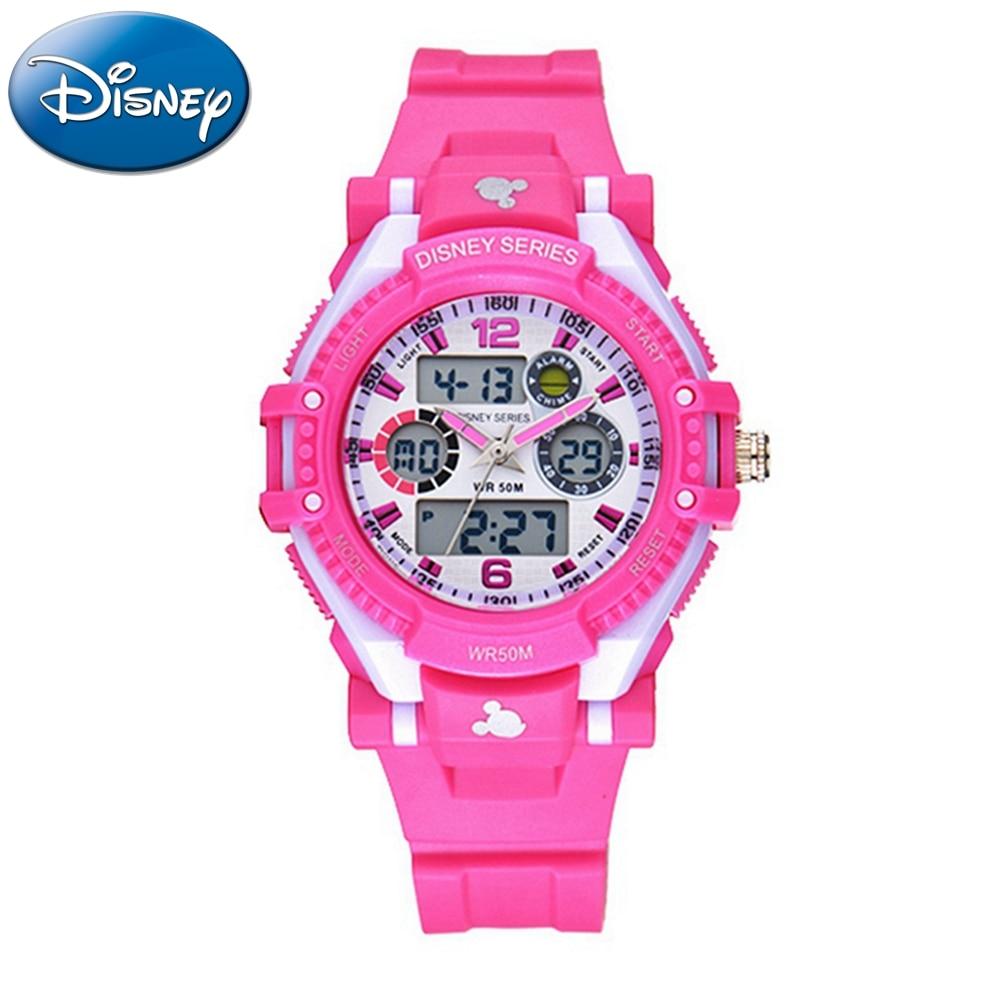 Disney Mickey Children Dual Display Sport Multifunction 5ATM Waterproof Watch Boys Girls Rubber Luminous Calendar Alarm Watches