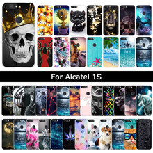 Case For Alcatel 1S 1 S 2019 Cartoon Cat Cute Patterned Soft Silicone Back Cover For Alcatels Protective Phone Shell Cases Coque(China)