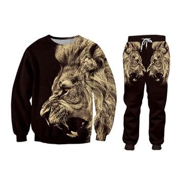 CJLM Casual Men's Tracksuit Hoodie Pants 3D Printing Two-piece Winter Jacket Men Loose Large Size Black Animal Lion Suit Sports 5