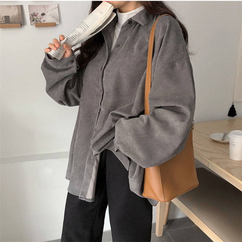 HziriP BF Style Texture Corduroy Chic Retro Soft Sweet Loose Warm Solid Women Oversize Tops Loose All-Match Shirts 3 Colors