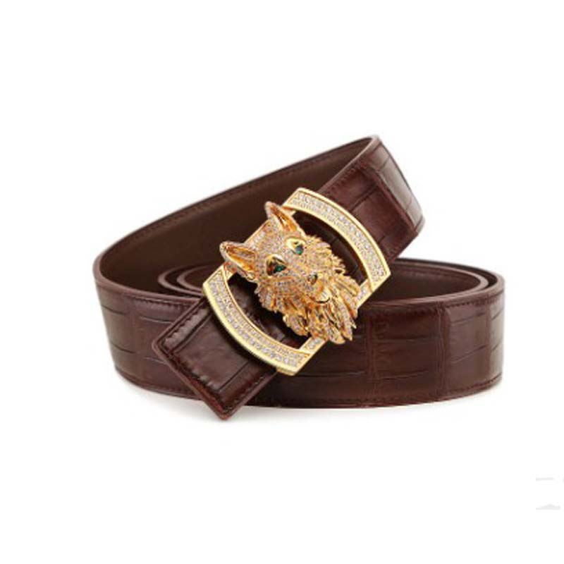 LINSHE New  Crocodile  The Belt  Men  The Real Thing  Luxury  Big  Men Belt  Wolf  Smooth Buckle  Genuine Leather  Belts  Tide