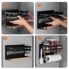 Magnetic Spice Rack For Refrigerator Kitchen Storage Rack With Hook Paper Towel Holder Refrigerator Side Hanging Organizer Shel