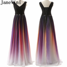 JaneVini Gradient Ombre Prom Dress Long Chiffon Rainbow Colo