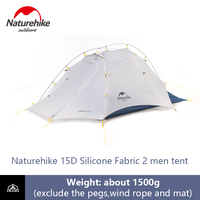 Naturehike Ultralight Tent 2 Men Camping 15D Double layer Waterproof Dome Tent 4 Season Outdoor Portable Backpacking Tent