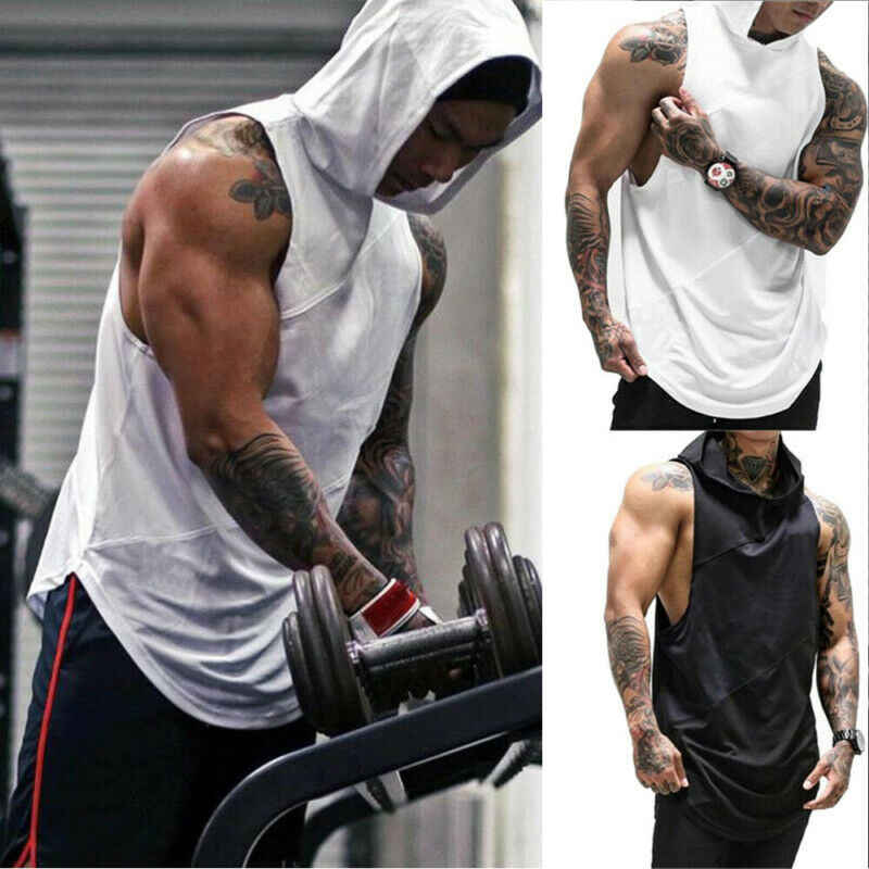 Hoodies Tank Tops Mannen Gym Kleding Bodybuilding Stringer Hoodies Tank Tops Spier Hooded Vest Mannen Gym Kleding Bodybuilding