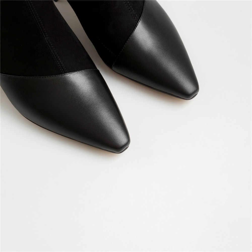 Sexy Herfst Laarzen Voor Vrouwen Enkel Buis Echt Leer + Flock Vintage Design Gladiator Chelsea Laarzen Schoenen GN12 MUYISEXI