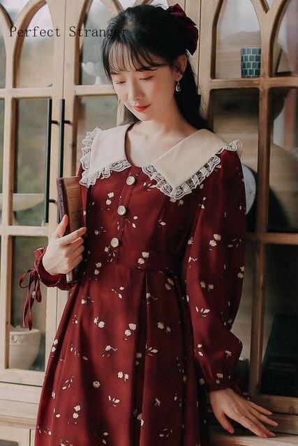 2020 Autumn New Arrival High Quality Retro Peter Pan Collar Flower Printed Women Long Cotton Dress 6