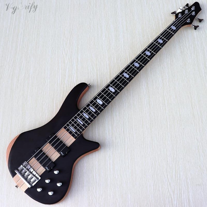 Pescoço através de 5 cordas guitarra baixo ativo 43 polegada 24 trastes sólido corpo de madeira de mogno canadá maple pescoço baixo elétrico guitarra