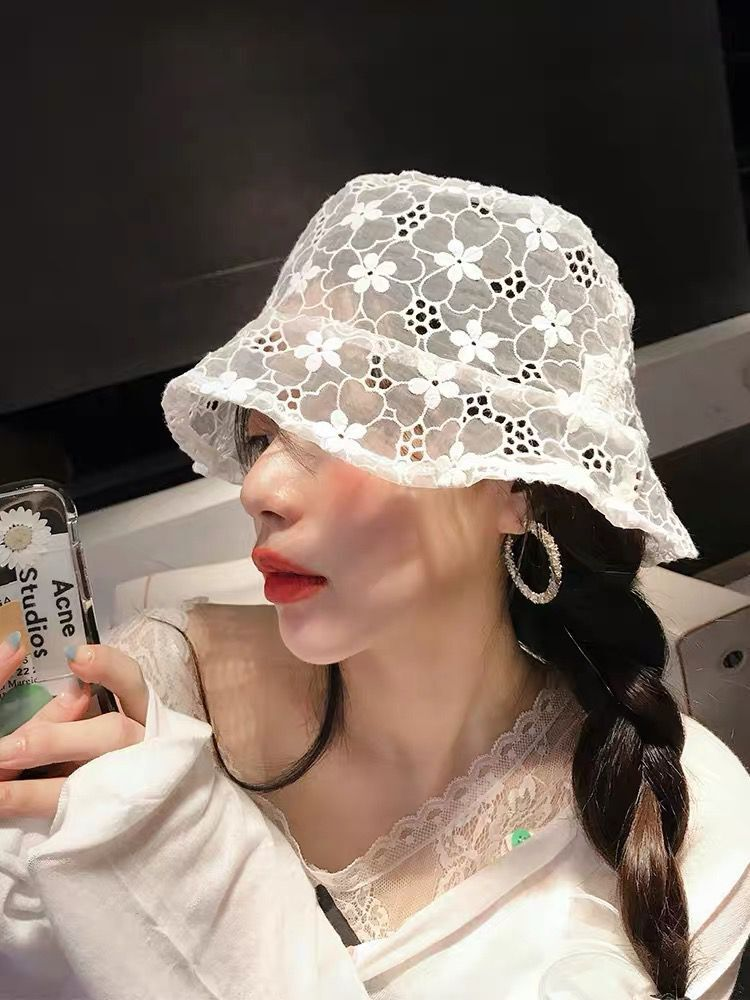 Web Celebrity Lace Fisherman Hat Spring And Summer Folding Fairy Hat Lady Small Fresh Doll Hat Jostling Sunshade Hat
