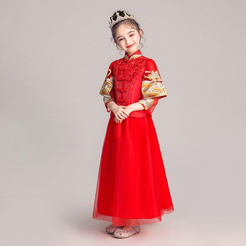 2019 New Style Girls Chinese Style Improved Cheongsam Children Performance Guzheng Catwalks Chinese Costume Formal Dress Western