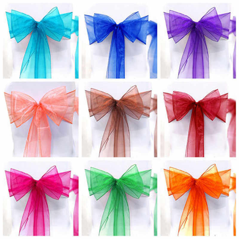 1PCS New Fashion Organza Chair Sash Bow For Cover Banquet Wedding Party Reception Event Xmas Decoration Supply