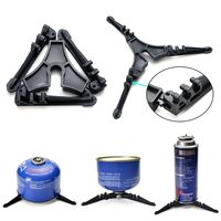 Camping Cookware Stove Carabiner Canister Stand Tripod and Stainless Steel Cup, Tank Bracket, Fork Knife Spoon Kit for