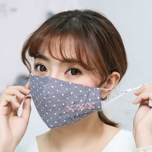 Women Printing Mask Spring Cotton Embroidery dot Dustproof Knot Bow Breathable Masks Fashion Pink Korean Mouth Face Mask #W3