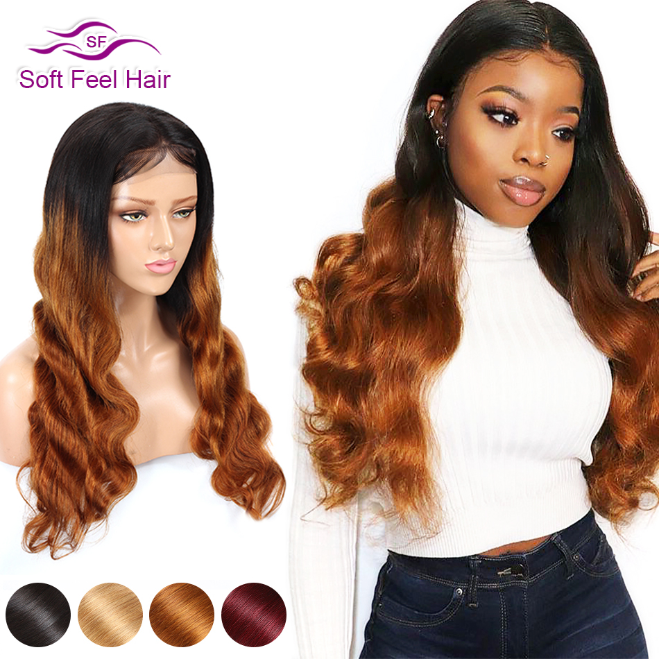 Soft Feel Hair 4x4 Lace Closure Wig Blonde Ombre Human Hair Closure Wigs For Women Remy Brazilian Body Wave Wigs Middle Ratio