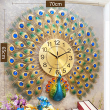 Large Peacock Wall Clock Creative Luxury Mute Living Room Wall Clock Bedroom Gift Idea Wall Watch Modern Design DD60WC