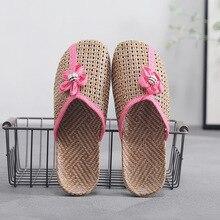 Indoor Slippers Slides Stone Village Linen Women Flat-Shoes Summer Cute Flax Weaving