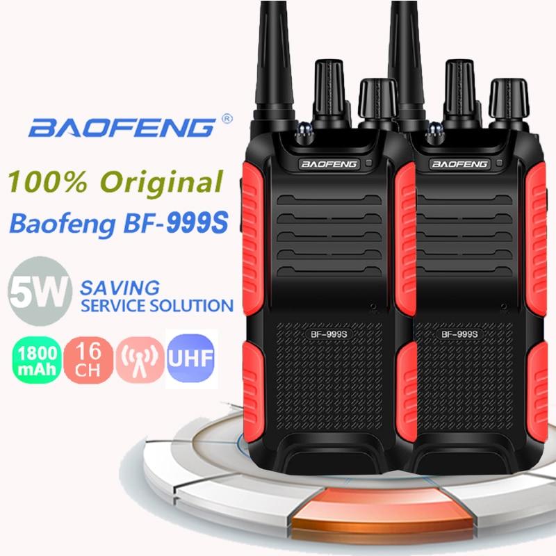 2 pçs original novo baofeng 999s walkie talkie 5w 1800mah uhf16 ch rádio em dois sentidos portátil de longa distância BF-999S mais 999s rádio cb
