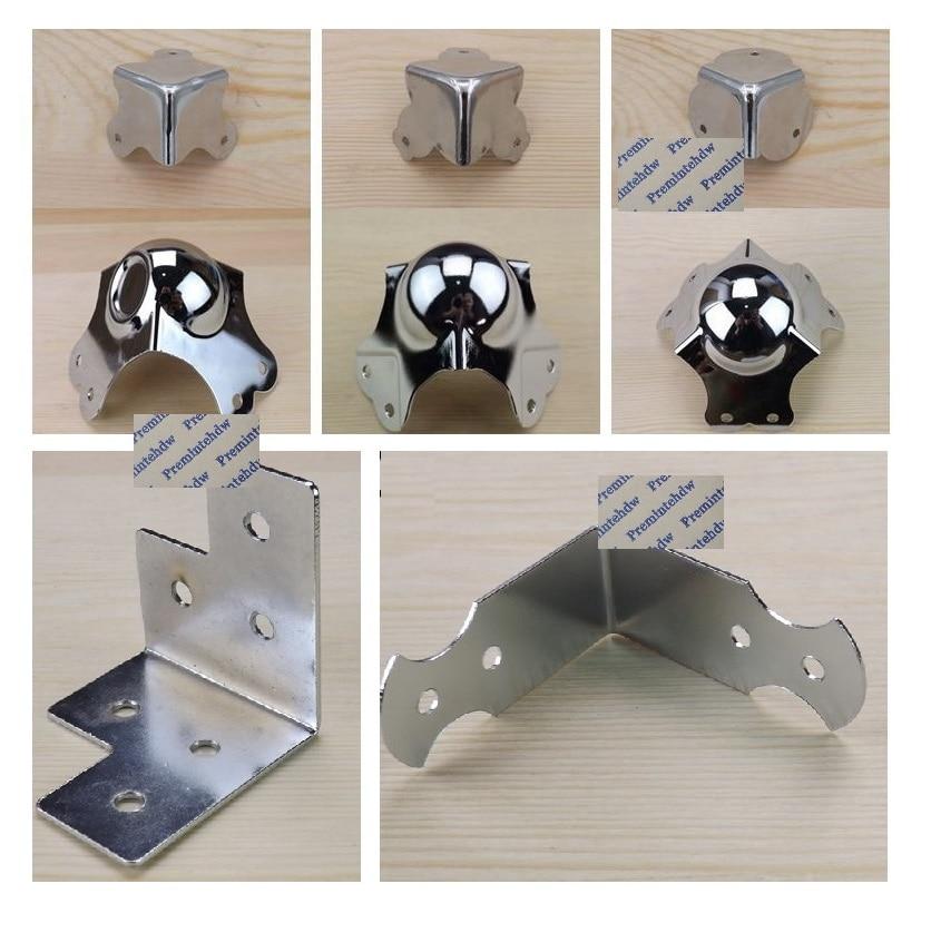 4Pcs/Lot Chrome Steel Road Flight Audio Case Toolbox Edge Ball Corner Protector Guard