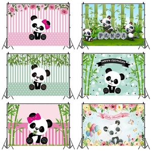 Image 1 - Laeacco Birthday Photography Backdrops Pink White Stripes Flowers Panda Bamboos Photographic Backgrounds Baby Shower Photocall