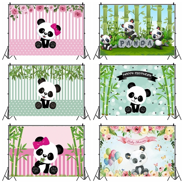 Laeacco Birthday Photography Backdrops Pink White Stripes Flowers Panda Bamboos Photographic Backgrounds Baby Shower Photocall